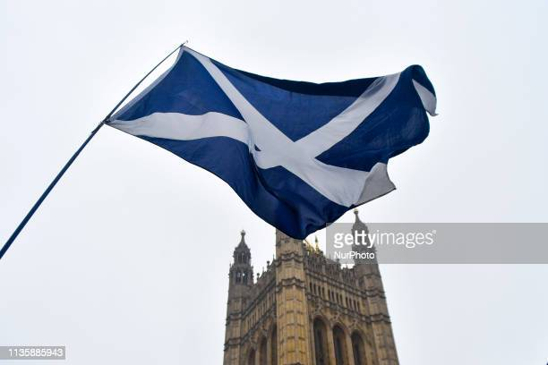 Scottish Flag waves outside the Houses of Parliament, London on April 9, 2019. Prime minister Theresa May is set to meet German Chancellor Angela...