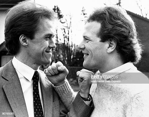 Scottish football Player Andy Gray poses with Merseyside rival Phil Neal Gray began his career at Dundee United before moving to Aston Villa and...