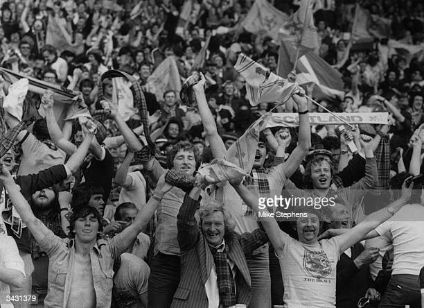 Scottish football supporters celebrating their sides first goal in the match against England at Wembley