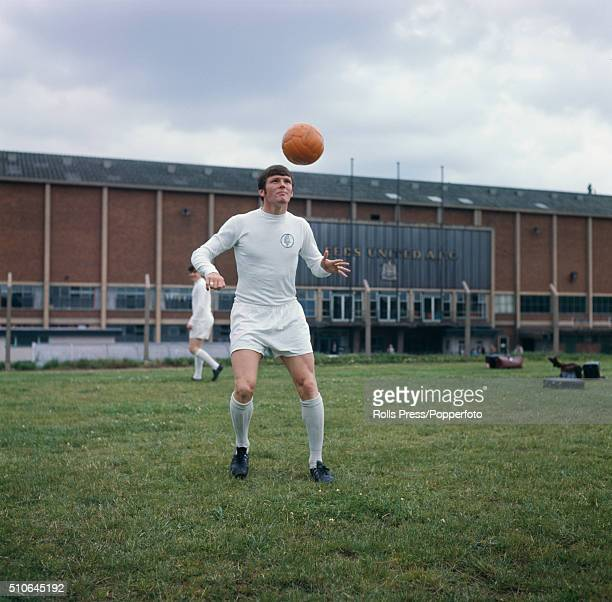 Scottish footballer and winger with Leeds United Eddie Gray pictured during a training session outside Leeds United's Elland Road stadium in Leeds in...