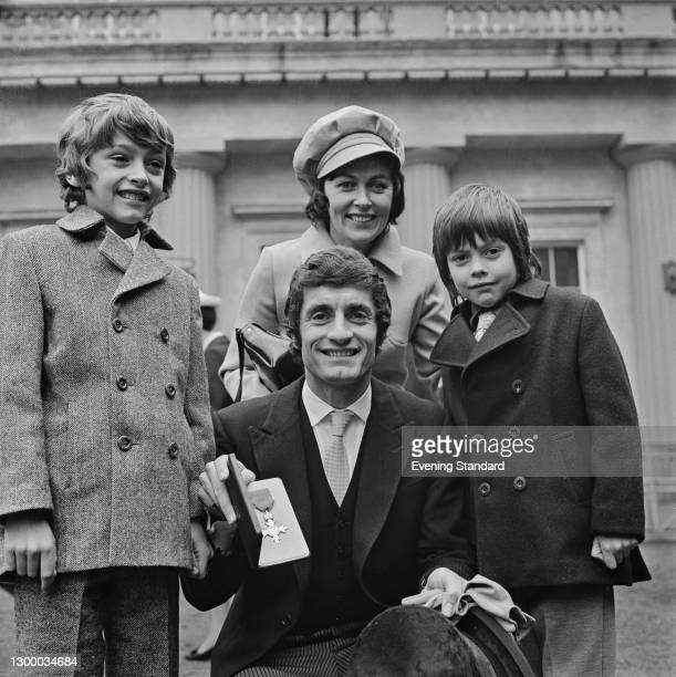 Scottish footballer Frank McLintock of Arsenal FC is awarded the MBE at Buckingham Palace in London for his services to football, UK, 7th March 1972....