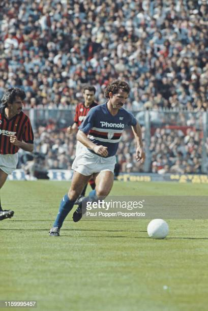 Scottish footballer Graeme Souness, midfielder with Sampdoria, pictured in action for the club during the Serie A match between Sampdoria and AC...