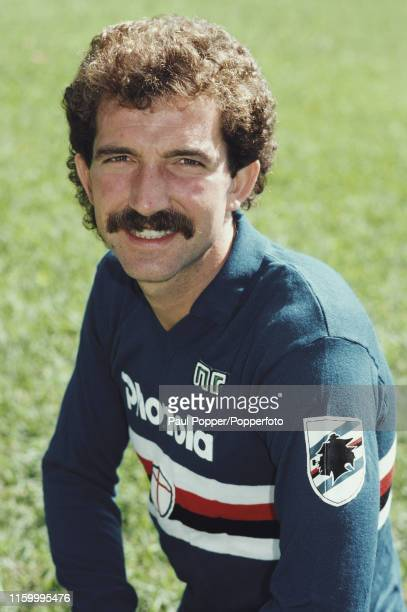 Scottish footballer Graeme Souness, midfielder with Sampdoria, pictured wearing a team shirt in Genoa, Italy soon after his move from Liverpool FC in...