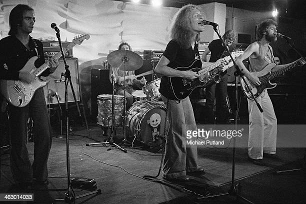 Scottish funk group the Average White Band performing on stage July 1973 Left to right Onnie McIntyre Robbie McIntosh Hamish Stuart Malcolm Duncan...