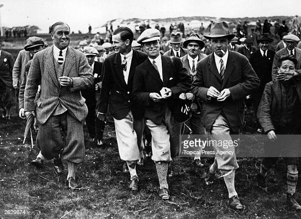 Scottish golfer Andrew Jamieson leaves the 15th Green after beating the United States golfer Bobby Jones in the Amateur Golf Championship at...