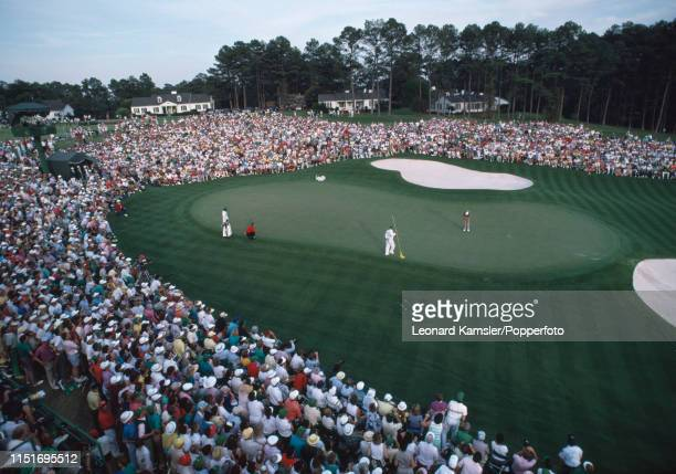 Scottish golfer Sandy Lyle putts on the last green enroute to winning the US Masters Golf Tournament at the Augusta National Golf Club in Georgia on...