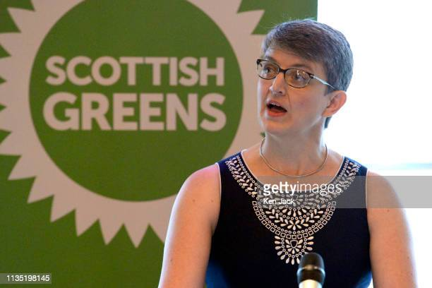 Scottish Green Party Coconvenor Maggie Chapman speaking at the Party's spring conference on April 6 2019 in Edinburgh Scotland