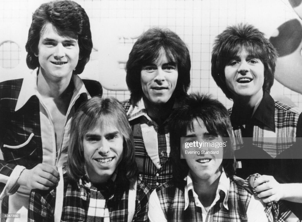 Scottish group the Bay City Rollers on the set of their new pop television programme 'Shang-A-Lang'. The Bay City Rollers, formed in Edinburgh, chose their name by pointing randomly at a map of America and finding Bay City in Michigan. The pop group had their first hit with 'Keep On Dancing' which reached number 9 in the charts in 1971. They rapidly became a teen sensation with dedicated fans who wore tartan like their idols.