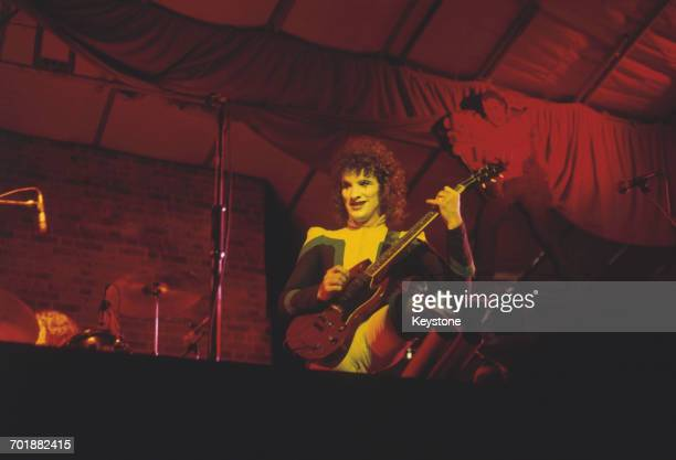 Scottish guitarist Zal Cleminson of the The Sensational Alex Harvey Band in concert, UK, 1974.