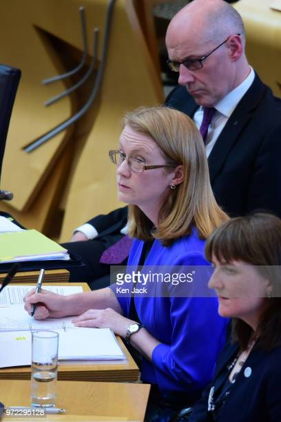 Scottish Higher Education Minister ShirleyAnne Somerville listens to opposition questions after making a statement to the Scottish Parliament on...