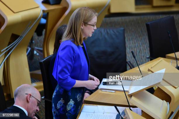 Scottish Higher Education Minister ShirleyAnne Somerville makes a statement to the Scottish Parliament on 'Student Support' on June 12 2018 in...