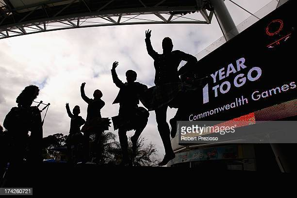Scottish Highland dancers perform during a media opportunity to mark the one year countdown until the 2014 Commonwealth Games at Melbourne Sports and...