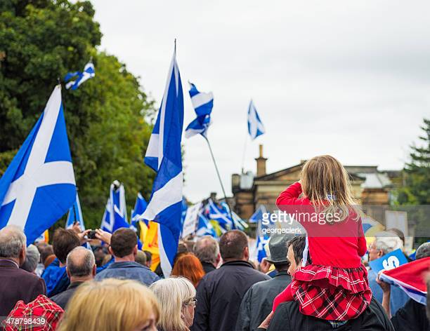 scottish independence march - scotland flag stock photos and pictures