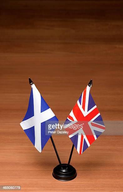 Scottish independence referendum flags on desk