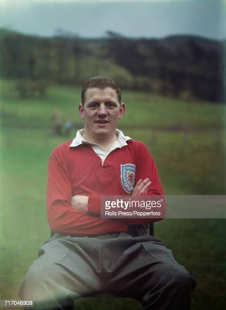 Scottish international footballer and defender with Celtic FC Jim Kennedy posed prior to a training session with the national side in Scotland in 1964