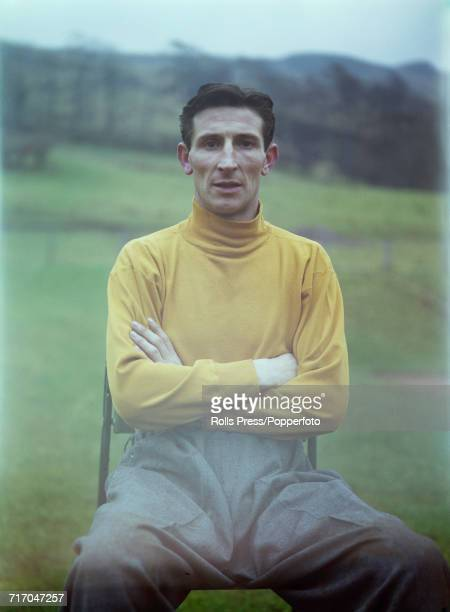 Scottish international footballer and goalkeeper with Tottenham Hotspur FC Bill Brown posed prior to a training session with the national side in...