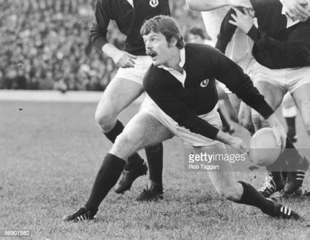 Scottish international rugby fly-half Alan Lawson in action, 15th February 1979.