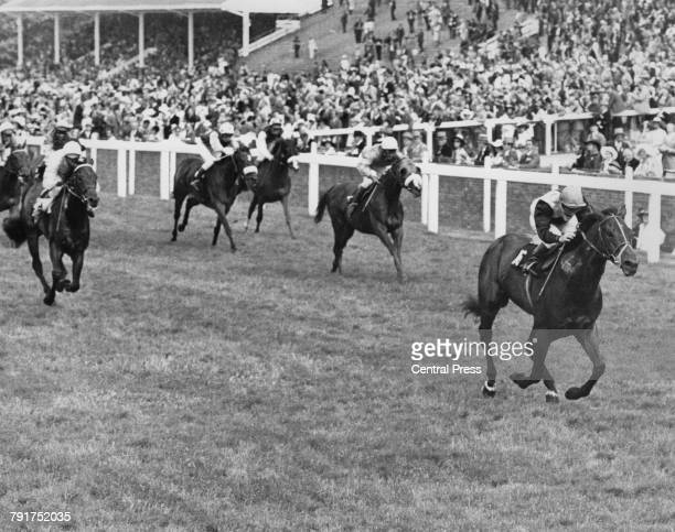 Scottish jockey Willie Carson riding Pummet to victory in the Wokingham Stakes during Royal Ascot week at Ascot Racecourse Berkshire 22nd June 1973...