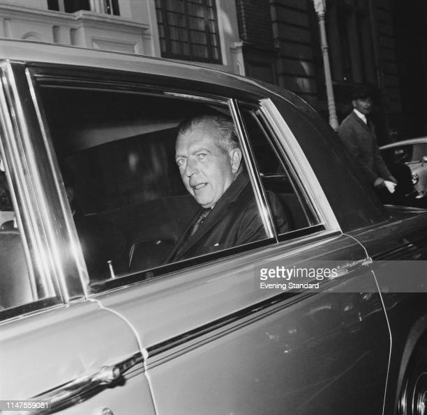 Scottish journalist and editor-in-chief of the Sunday Express John Junor travelling on a car, UK, 8th October 1969.
