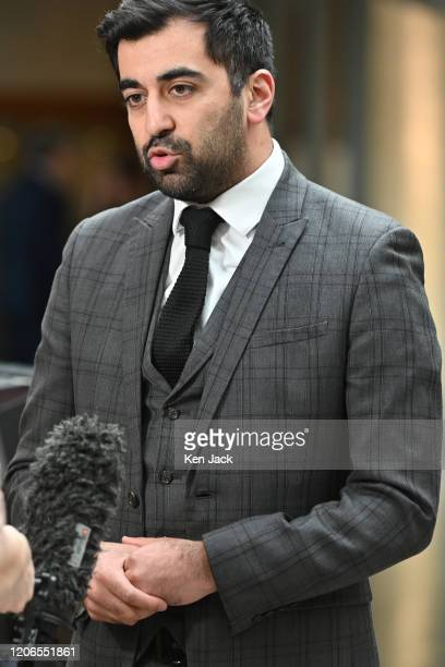 Scottish Justice Secretary Humza Yousaf is interviewed in the lobby of the Scottish Parliament on the possibility of a posthumous appeal being...