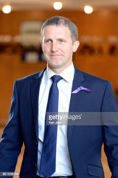 Scottish Justice Secretary Michael Matheson on the way to First Minister's Questions in the Scottish Parliament on April 26 2018 in Edinburgh Scotland