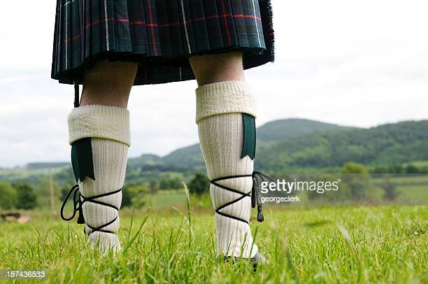 scottish kilt and stockings - scotland stock pictures, royalty-free photos & images