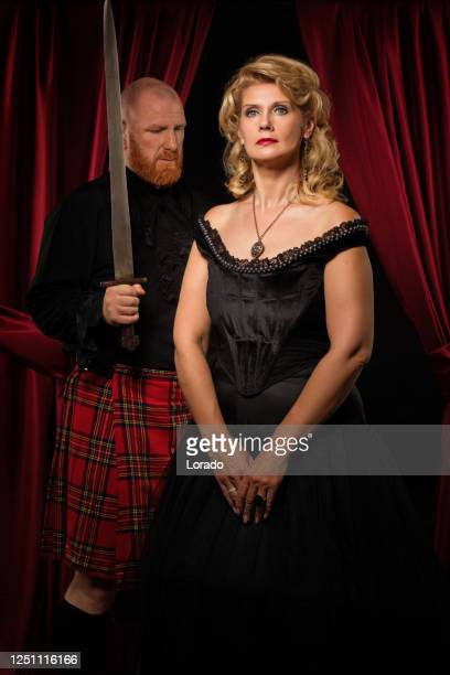 scottish king and queen in studio shoot - king royal person stock pictures, royalty-free photos & images
