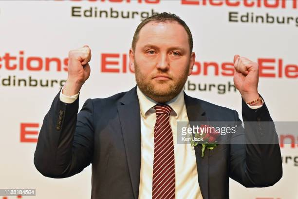 Scottish Labour candidate Ian Murray celebrates after retaining his Edinburgh South seat in the general election on December 13 2019 in Edinburgh...