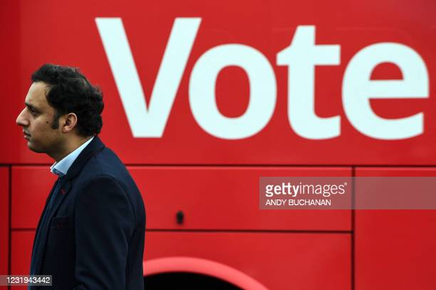 Scottish Labour leader Anas Sarwar gestures during the unveiling of the party's campaign bus in Govan, Glasgow on March 26 2021, ahead of the 2021...