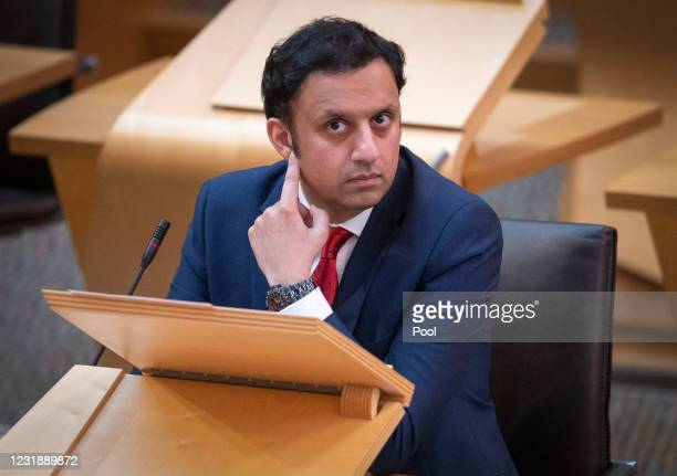 Scottish Labour leader Anas Sarwar in the main chamber ahead of a Covid briefing at the Scottish Parliament in Holyrood on March 23, 2021 in...