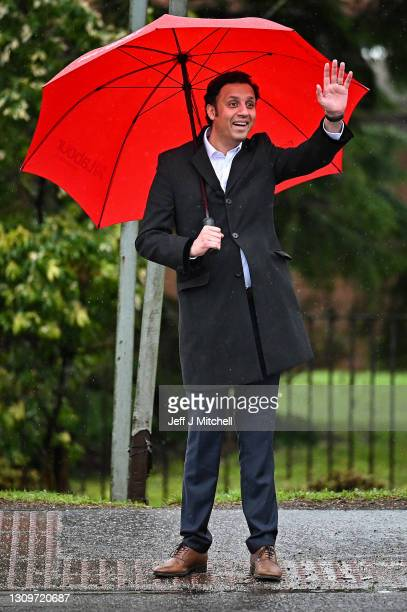 Scottish Labour leader Anas Sarwar launchs Scottish Labour's election campaign, unveiling a National Recovery Plan outside the Vale of Leven hospital...