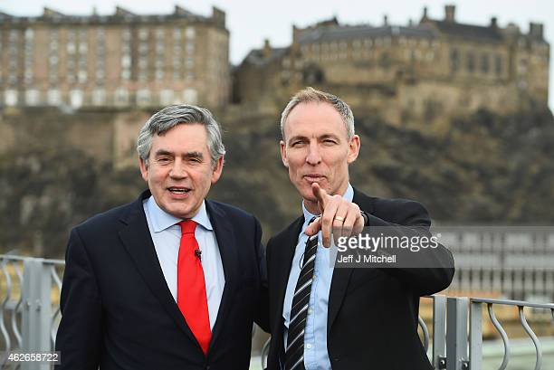Scottish Labour leader Jim Murphy and former Prime Minister Gordon Brown outline more welfare powers for Scotland on February 2, 2015 in Edinburgh,...