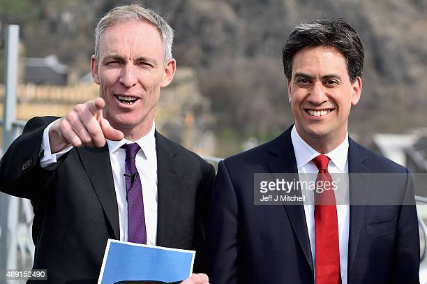 Scottish Labour Leader Jim Murphy and Labour Leader Ed Miliband hold a joint press conference on April 10 2015 in EdinburghScotland Labour's Ed...