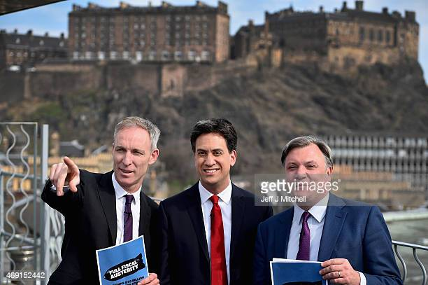 Scottish Labour Leader Jim Murphy Labour Leader Ed Miliband and Shadow Chancellor Ed Balls hold a joint press conference on April 10 2015 in...