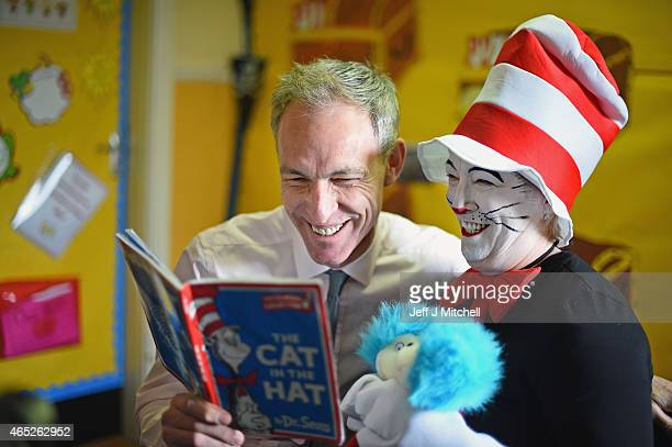 Scottish Labour leader Jim Murphy visits Elmvale Primary School in the Springburn district to mark World Book Day on March 5 2015 in GlasgowScotland...