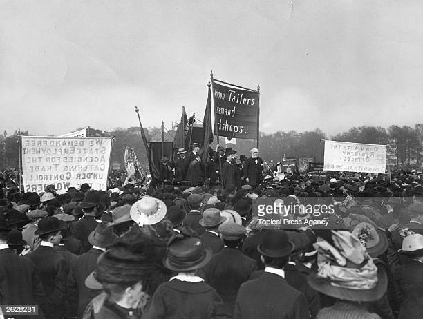 Scottish Labour leader Keir Hardie addressing a tailors' rally on May Day in Hyde Park London Keir Hardie was born in Legbrannock in Lanarkshire and...
