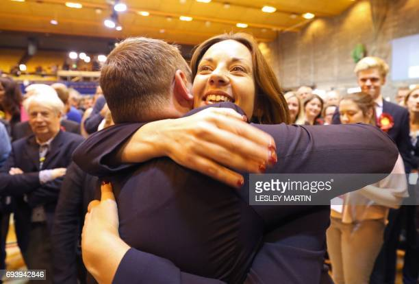 Scottish Labour leader Kezia Dugdale celebrates with candidate for Edinburgh South Ian Murray as he retains his seat at the Meadowbank Sports Centre...