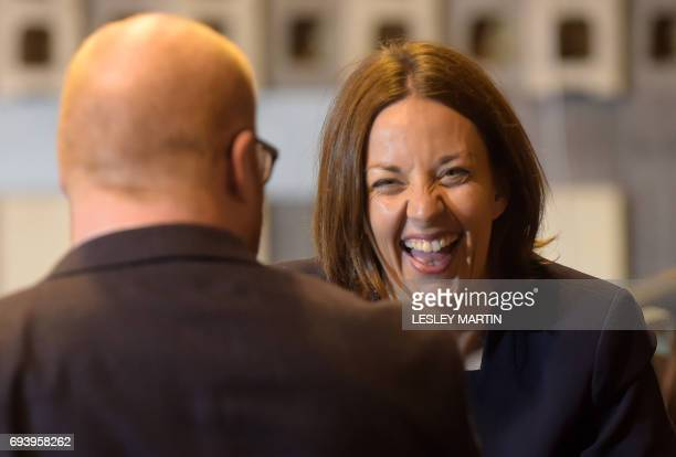 Scottish Labour leader Kezia Dugdale laughs during an interview at the Meadowbank Sports Centre counting centre in Edinburgh Scotland on June 9 hours...