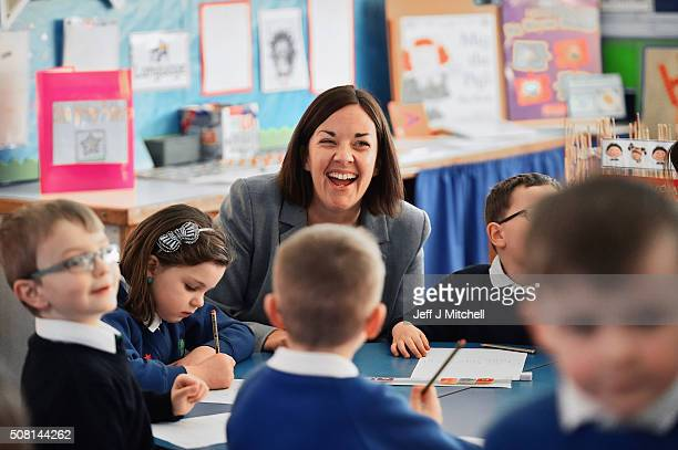 Scottish Labour leader Kezia Dugdale speaks with schoolchildren during a visit to Cowdenbeath Primary school ahead of parliamentary vote on income...