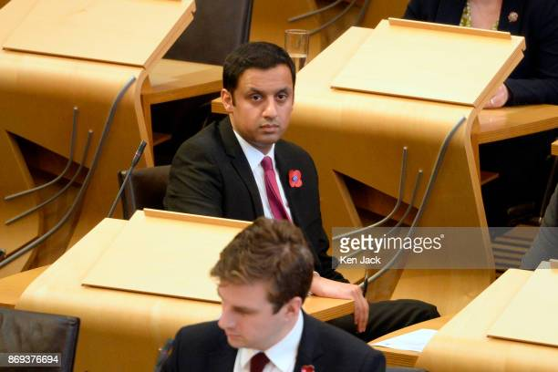 Scottish Labour leadership contender Anas Sarwar during First Minister's Questions in the Scottish Parliament on November 2 2017 in Edinburgh Scotland