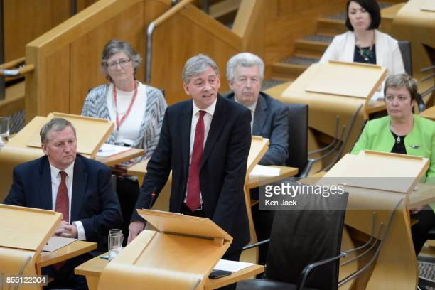 Scottish Labour leadership contender Richard Leonard leads a Members' Debate in the Scottish Parliament on worker ownership watched by interim leader...