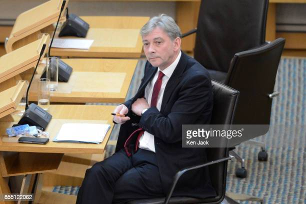 Scottish Labour leadership contender Richard Leonard listens to other contributions after leading a Members' Debate in the Scottish Parliament on...