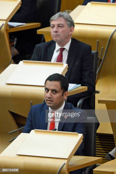 Scottish Labour leadership contenders Anas Sarwar and Richard Leonard during First Minister's Questions in the Scottish Parliament on September 28...