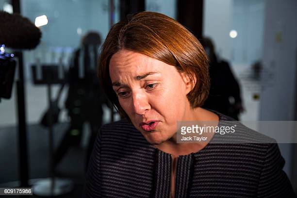 Scottish Labour Party leader Kezia Dugdale leaves the Labour party headquarters following a meeting of the party's governing body the National...