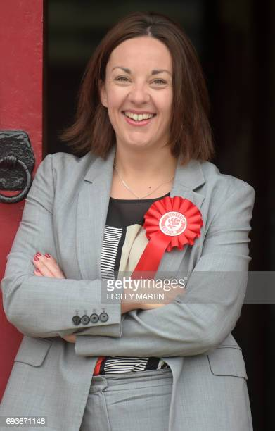 Scottish Labour Party leader Kezia Dugdale poses as she arrives at the polling station at Wilson Memorial Church Edinburgh on June 8 2017 to cast her...
