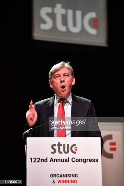 Scottish Labour Party Leader Richard Leonard addresses the Scottish Trade Union Congress at the Caird Hall on April 15 2019 in DundeeScotland The...