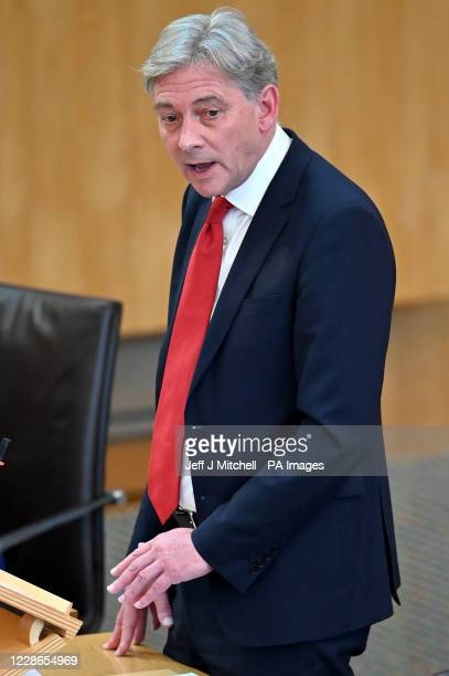 Scottish Labour Party leader Richard Leonard asks questions of the First Minister Nicola Sturgeon during her announcement for her plans to halt the...