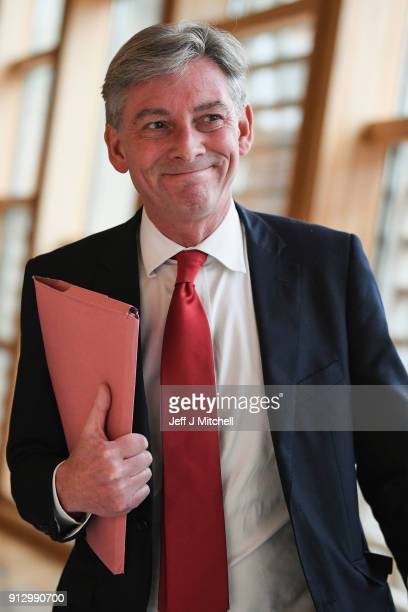 Scottish Labour party leader Richard Leonard attends first ministers questions in the Scottish Parliament on February 1 2018 in EdinburghScotland