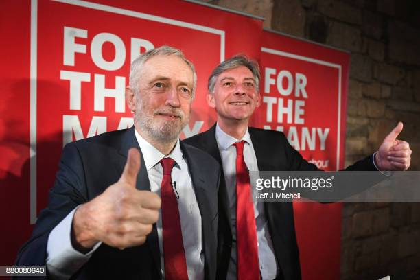 Scottish Labour Party leader Richard Leonard joined by Labour Party leader Jeremy Corbyn as they address party activists at the Lighthouse on...