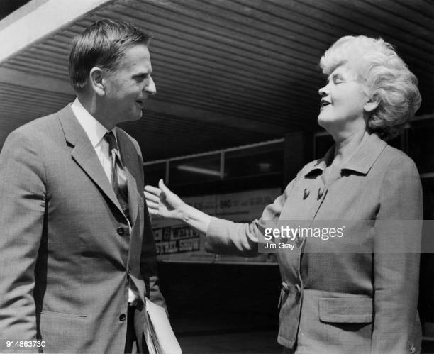 Scottish Labour politician Jennie Lee Minister for the Arts with Olof Palme the Swedish Minister for Education during a lunch break in the Triennial...
